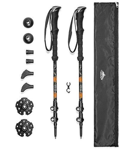 Cascade Mountain Tech Aluminum Adjustable Trekking Poles - Lightweight Quick Lock Walking Or Hiking Stick - 1 Set (2 Poles), EVA Grip
