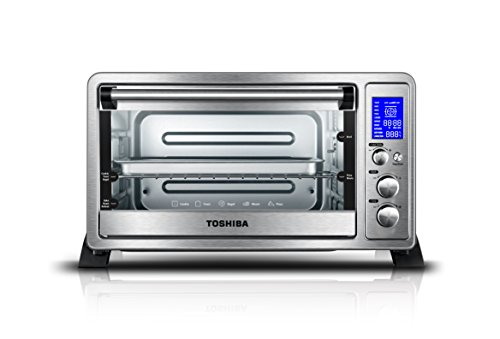 Toshiba AC25CEW-SS Digital Toaster Oven with Convection Cooking and 9 Functions, 6-Slice Bread/12-Inch Pizza, Stainless Steel