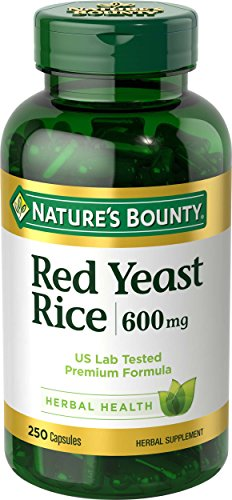 Nature's Bounty Red Yeast Rice Pills and Herbal Health Supplement, Dietary Additive, 600mg, 250 Capsules