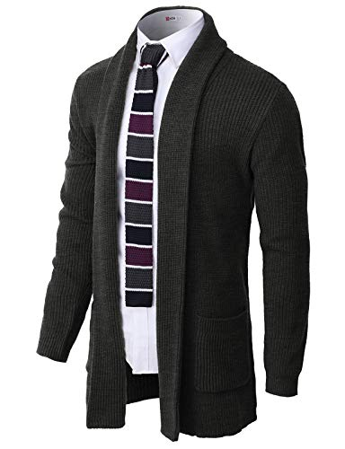 H2H Men's Casual Slim Fit Cardigan Shawl Collar Middle Line with No Button Charcoal US 2XL/Asia 3XL (CMOCAL051)