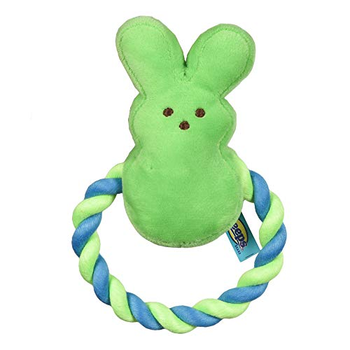 Peeps for Pets Bunny 6 Inch Green Plush Rope Pull Toy for Dogs   Green Dog Toy from Peeps, Plush Fabric Dog Toys   Small Squeaker Dog Toy with Rope (FF16026)