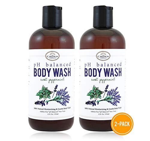 100% Natural Vegan Liquid Bath Soap (2 PK), pH Balanced Body Wash for Sensitive Skin   Naturals Non Toxic Shower Gel for Men Women   Aloe, Spearmint, Lavender, Manuka