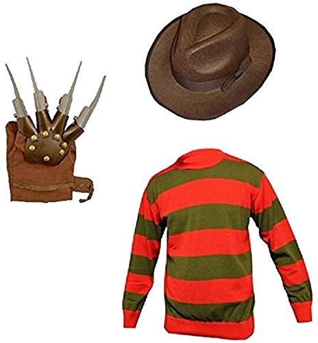 GirlzWalk Unisex Kids Boys Freddy Halloween Fancy Dress Hat Jumper & Glove Set (Jumper, Hat & Glove, 13 Years Old)