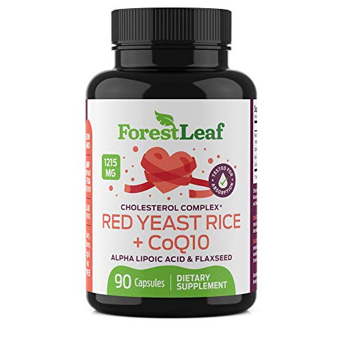 Red Yeast Rice Care with COQ-10 and Organic Flaxseed - Supports Cardiovascular Health - 1215mg - 90 Vegetable Capsules - Daily Dietary Supplements