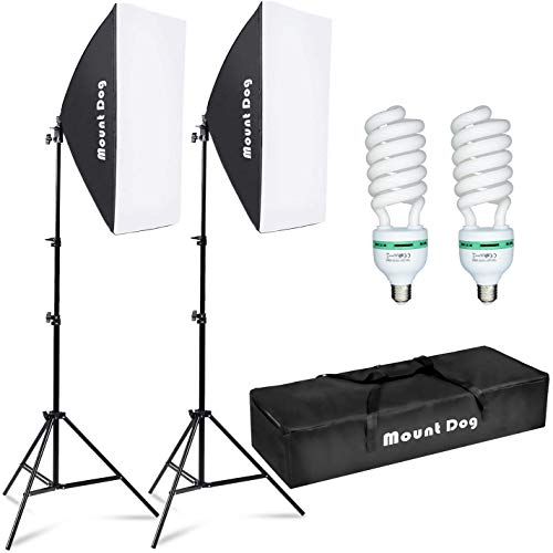 MOUNTDOG Softbox Lighting Kit Photography Studio Light 20'X28' Professional Continuous Light System with E27 95W Bulbs 5500K Photo Equipment for Filming Model Portraits Advertising Shooting