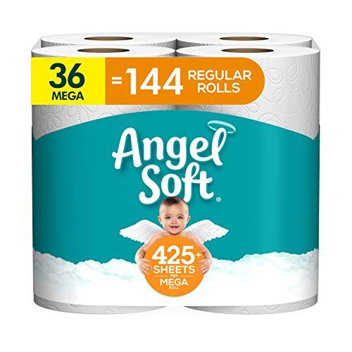 Angel Soft Toilet Paper, 36 Mega Rolls, 36 = 144 Regular Rolls, Bath Tissue, 9 Rolls (Pack of 4)