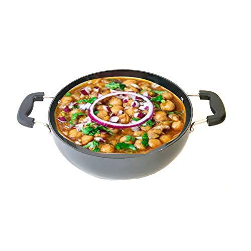 Hard Anodized Deep Kadai Aluminium Kadhai For Cookware Deep Frying Pan Everyday Pan All Purpose Pan Stir Fry Pan Kadhai with Stainless Steel Lid Cookware Kadai for Home and Kitchen 2 Liter (3mm)