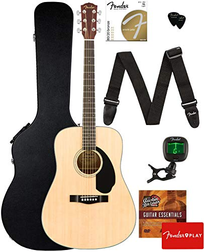 Fender CD-60S Solid Top Dreadnought Acoustic Guitar - Natural Bundle with Hard Case, Tuner, Strap, Strings, Picks, Fender Play Online Lessons, and Austin Bazaar Instructional DVD