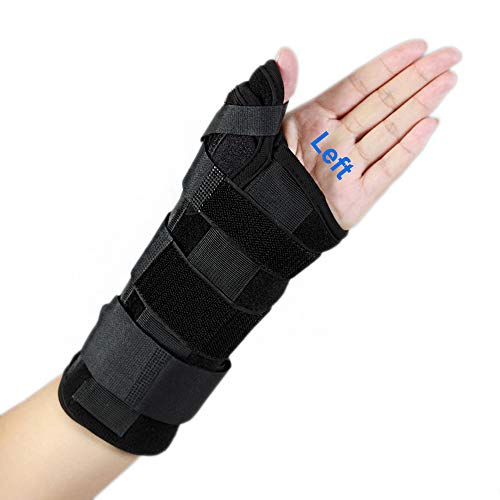 Wrist Brace with Thumb Spica Splint, De Quervain's Tenosynovitis, Carpal Tunnel Pain, Wrist & Thumb Stabilizer for Tendonitis, Arthritis, Sprains & Fracture Forearm Support Cast(Left, Medium/Large)