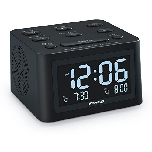 REACHER R3 Dual Alarm Clock and White Noise Machine with Adjustable Volume, 6 Wake Up Sounds, 12 Soothing Sounds for Sleeping, Auto-Off Timer, USB Charger, Battery Backup, 0-100% Dimmer for Bedroom