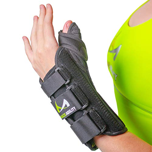 BraceAbility Thumb & Wrist Spica Splint | De Quervain's Tenosynovitis Long Stabilizer Brace for Tendonitis, Arthritis & Sprains Forearm Support Cast (Small - Left Hand)