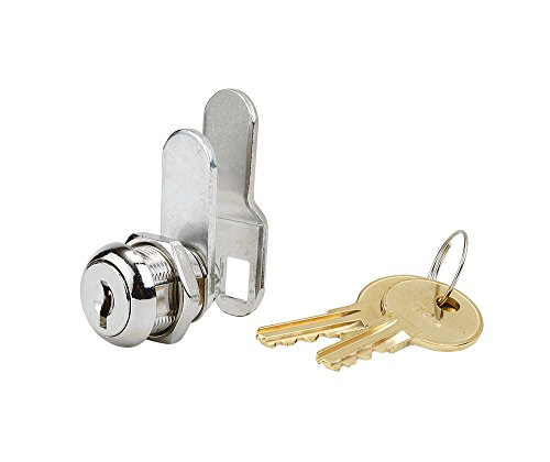 Disc Tumbler Cam Lock with 5/8' Cylinder and Chrome Finish, Keyed Alike with 2 Keys, 1 1/4' Cam and Offset Cam
