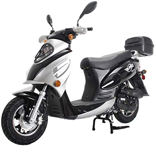 X-PRO Oahu 50cc Moped Scooter Gas Moped Scooter Street Scooter Gas Moped Aluminum Wheels with USB Charger Fully Assembled in Crate (Black)