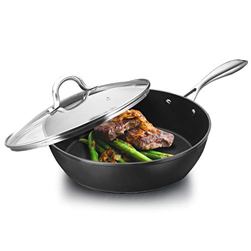 COOKER KING 11 IN Nonstick Deep Saute Pan, Non-Stick Frying Pan with Lid, Omelette, Deep Skillet, Wok, PFOA Free, Induction Compatible, Dishwasher Safe, Oven Safe, Stainless Steel Handle, Black, 5QT