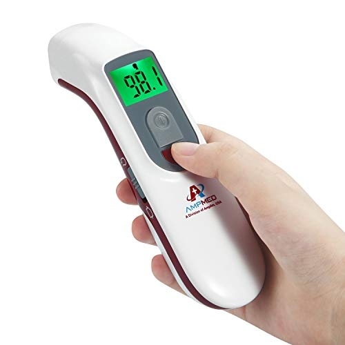 Amplim Hospital Medical Grade No Touch Non Contact Digital Infrared Temporal Forehead Thermometer for Adult/Baby/Kid/Toddler/Infant/ Nurse - Red