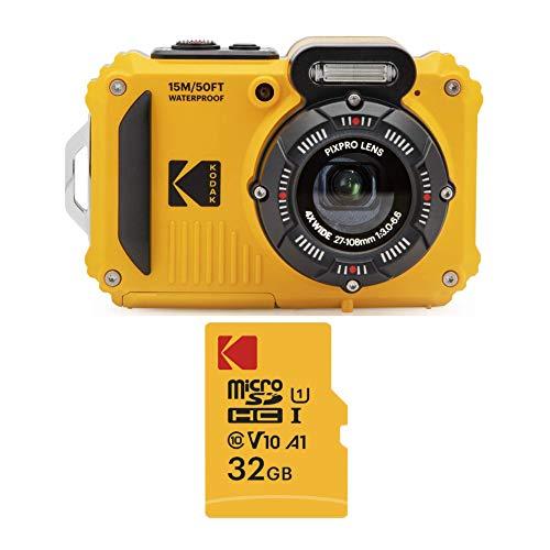 Kodak PIXPRO WPZ2 Rugged Waterproof 16MP Digital Camera with 4X Optical Zoom and Kodak 32GB microSDHC Card with Adapter Bundle (2 Items)