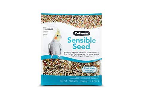 ZuPreem Sensible Seed Bird Food for Medium Birds, 2 lb Bag - Premium Blend of Seeds, FruitBlend Pellets for Lovebirds, Quakers, Small Conures, Cockatiels