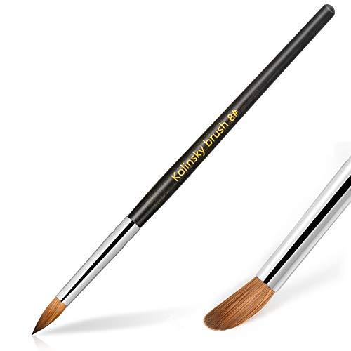 Hestiasko Kolinsky Acrylic Nail Brush Size 8 - Professional Nail Brushes for Acrylic Application Nail Art Brush Oval Crimped Shaped Mahogany Wood Handle (Black)