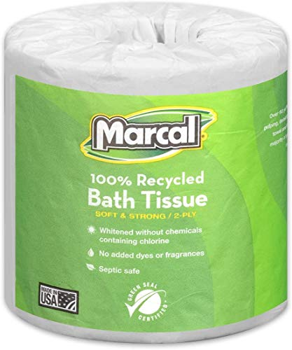 975 Supply Toilet Paper 100% Recycled - 2 Ply White Bath Tissue, 336 Sheets Per Roll - 1 Roll Green Seal Certified Toilet Paper 06079