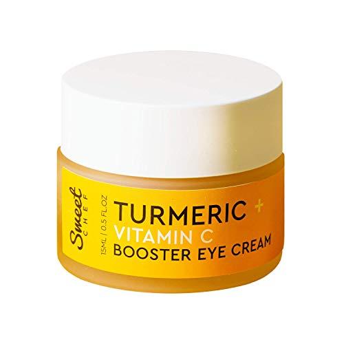 Sweet Chef Turmeric + Vitamin C Eye Cream - Hydrating Gel-Cream with Probiotics to Brighten the Appearance of Dark Circles + Moisturize Sensitive Skin Under Eyes (15ml / 0.5 oz)