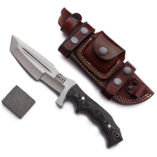 GCS Custom Handmade hunting knife Black & White Micarta Handle D2 Tool Steel Survival knife Tracker fixed blade Knife with Brown Leather Right or Left Hand Horizontal Sheath & Sharpening Stone GCS 171