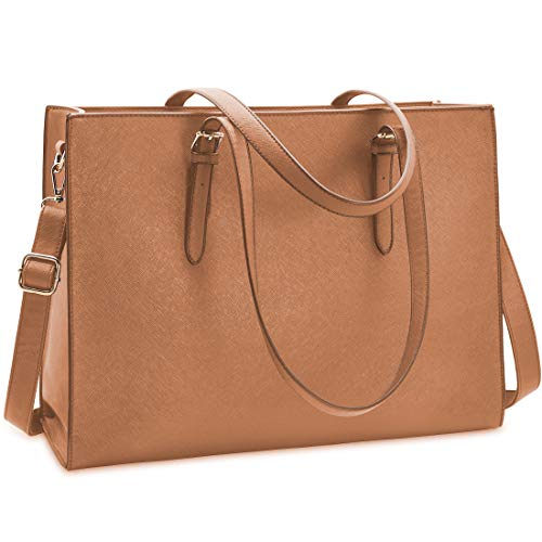 Laptop Bag for Women Waterproof Lightweight Leather 15.6 Inch Computer Tote Bag Business Office Briefcase Large Capacity Handbag Shoulder Bag Professional Office Work Bag Brown