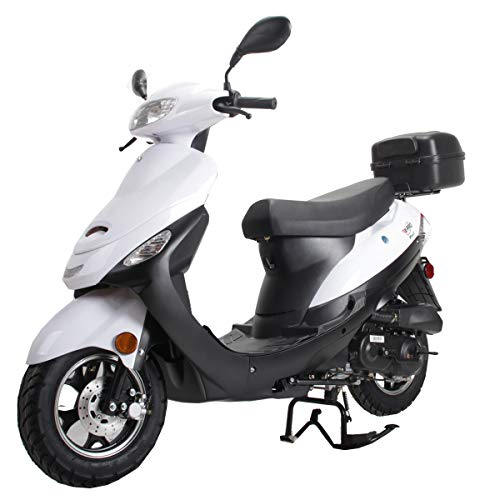 X-PRO Maui 50cc Moped Scooter Gas Moped Scooter Motorcycle 50cc Adult Scooter Aluminum Wheels with USB Charger Fully Assembled in Crate (White)
