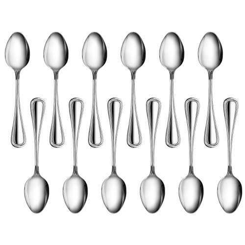 New Star Foodservice 58123 Slimline Pattern, 18/0 Stainless Steel, Dinner Spoon, 7.25-Inch, Set of 12