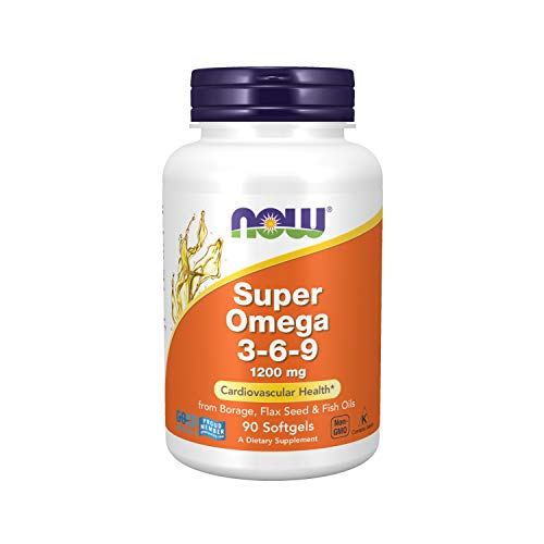 NOW Supplements, Super Omega 3-6-9 1200 mg with a blend of Fish, Borage and Flax Seed Oils, 90 Softgels