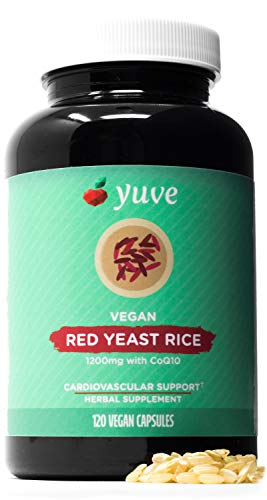 Yuve Red Yeast Rice 1200 mg + CoQ10 - Triglycerides Lowering Natural Supplement - Healthy Cardiovascular System & Blood Circulation Support - Supports Overall Health - 120 Gelatin-Free Vegan Capsules