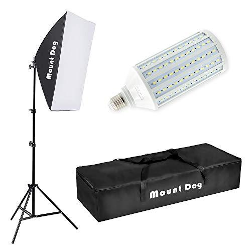 MOUNTDOG LED Softbox Photography Lighting Kit with 20'X28' Reflector Professional Photo Studio Equipment and 80W 6500K New Corn Light Bulbs for Portraits Fashion and Video Shooting