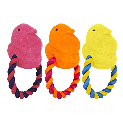 Peeps for Pets Plush Chick Rope Pull Toy for Dogs, 3 Count for Pets Squeaker Dog Toy |Orange/Pink, Pink/Purple, and Yellow/Blue | Dog Toy is a Fun and Cute Way to Entertain Your Pet, All