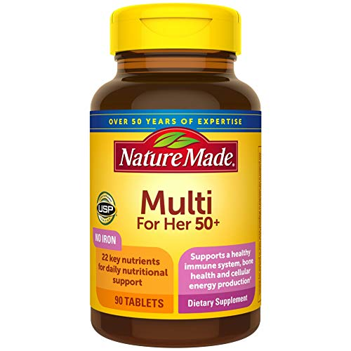 Nature Made Women's Multivitamin 50+ Tablets with Vitamin D, 90 Count for Daily Nutritional Support
