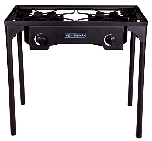 Stansport 2 Burner Cast Iron Stove with Stand, Black, One Size