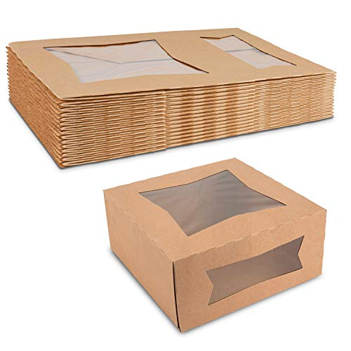Beautiful Kraft Paperboard Bakery Box 9' Length x 9' Width x 4' Height Two Windows for Maximum Product Visibility by MT Products (Pack of 15)
