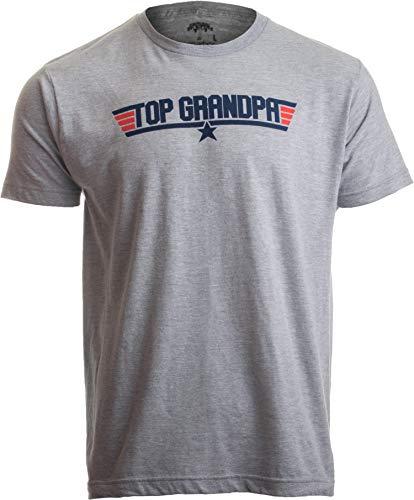 Top Grandpa | Funny 80s Dad Humor Movie Gun 1980s Military Air Force Men T-Shirt-(Adult,XL) Heather Grey