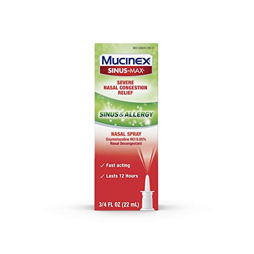 Mucinex Sinus-Max Severe Nasal Congestion Relief Sinus & Allergy Nasal Spray, Sinus Symptom Relief, Nasal Congestion, Sinus Congestion & Sinus Pressure, 0.75 FL OZ