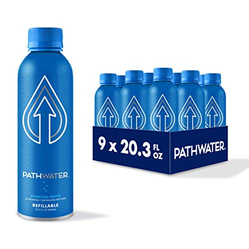 PATH Purified and pH Balanced Bubbly Sparkling Water in Eco-Friendly BPA-Free Bottle, Lightweight Aluminium Reusable Packaged Bottled Sparkling Water 20.3 Fl Oz (Pack of 9)