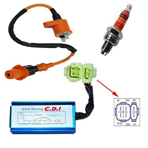 High Performance Racing Round AC Fired 6 Pins CDI Ignition Coil 3 Electrode Spark Plug for Chinese 50cc 125cc 150cc Gy6 Moped Scooter Go Kart