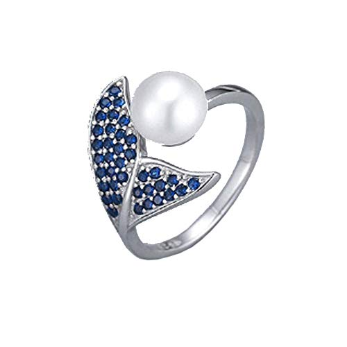S925 Silver with Rhodium Plated and Blue Cubic Zirconia Ring Setting for Pearl or Gemstone, Ring Blank, Pearl mounts, Gift DIY