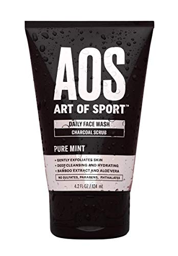 Art of Sport Daily Face Wash - Charcoal Face Scrub - Exfoliating Face Wash for Men with Natural Botanicals Tea Tree Oil, Aloe Vera and Bamboo Extract - Pure Mint Scent - Paraben Free - 4.2 fl oz