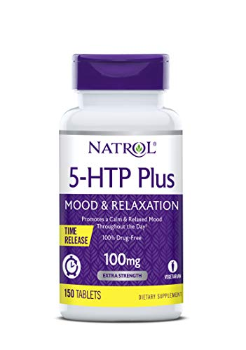 Natrol 5-HTP Plus Time Release Tablets, Promotes Better Mood, Sleep and Relaxation, 100% Drug-Free, 100mg, 150 ct