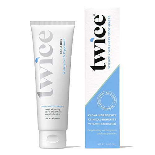 Twice Toothpaste - Clean Oral Care - Sensitive Teeth Whitening Toothpaste - SLS Free Toothpaste with Fluoride and Cavity Protection - (Wintergreen and Peppermint Toothpaste) (1-Pack)