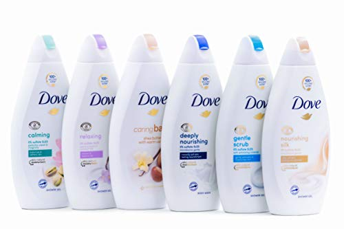 Dove Body Wash Variety 6 Pack - Shea Butter, Deep Moisture, Pistachio Cream, Coconut Milk, Gentle Exfoliating and Silk Glow, 16.9oz Each International Version