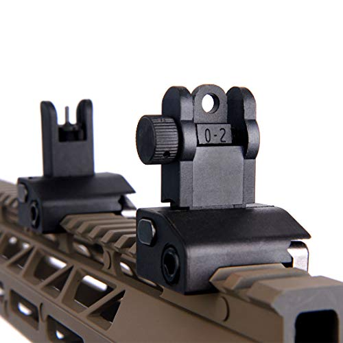Ultralight Flip Up Backup Battle Sight Offset Rapid Transition Front and Backup Rear Sight for Picatinny Mount