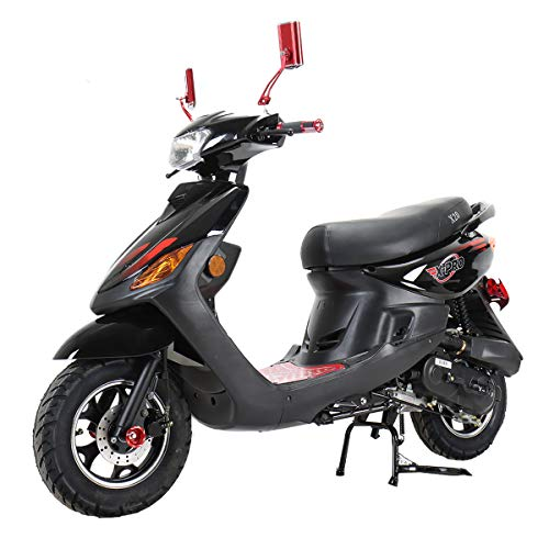X-PRO X22 50cc Moped Scooter Street Scooter Gas Moped 50cc Adult Scooter Bike with 10' Aluminum Wheels!Fully Assembled in Crate! (Black)