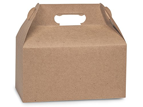 Kraft Gable Boxes with Subtle Pinstripe, Large 9.5 x 5 x 5 - Set of 6 - Natural Kraft