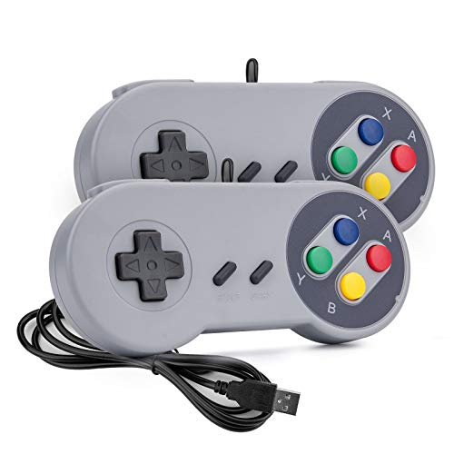 Rii Game Controller, SNES Retro USB Controller, Classic Gamepad Joystick, PC Super Classic Joypad Gamestick for PC, Raspberry Pi, Windows MAC Liunx, Android GP100 (Grey, 2 Packs)