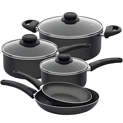 Goodcook Everyday Nonstick cookware, 8 pack, Black