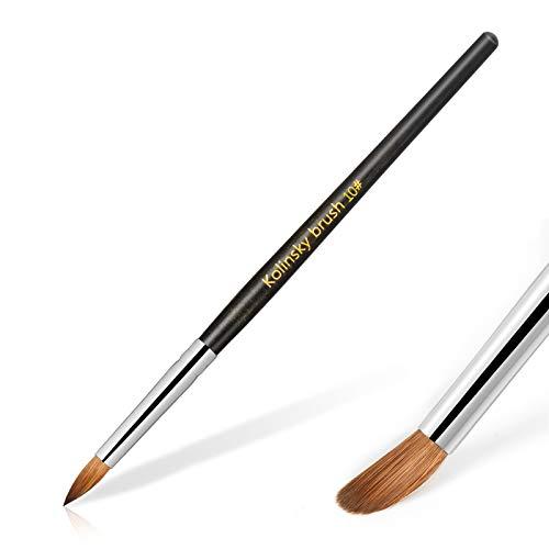 Hestiasko Kolinsky Acrylic Nail Brush Size 10 - Professional Nail Brushes for Acrylic Application Nail Art Brush Oval Crimped Shaped Mahogany Wood Handle (Black)